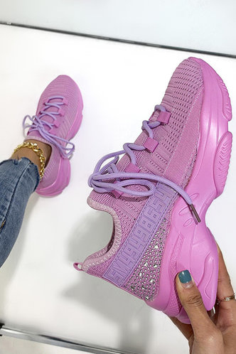 front_Flat Round Toe Light Purple Sneakers