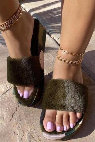 front_Solid Color   Low Heel Round Toe Camo Slides & Flip Flops