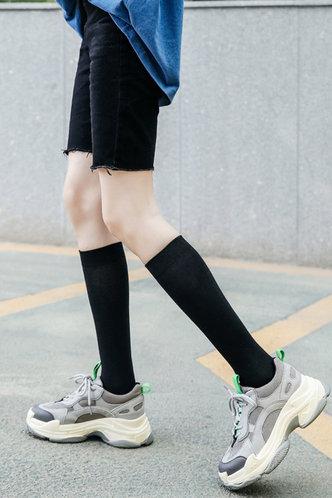 front_Greta Eileen Black Over The Calf Socks