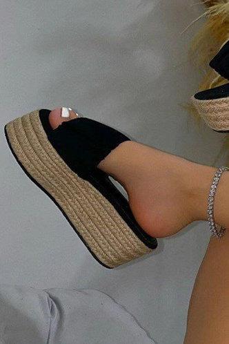 back_Geraldine Mehhkaprad Black Espadrille Platform Sandals