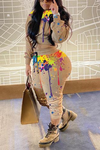 back_Tie Dye Drawstring Multicolor Pants Sets