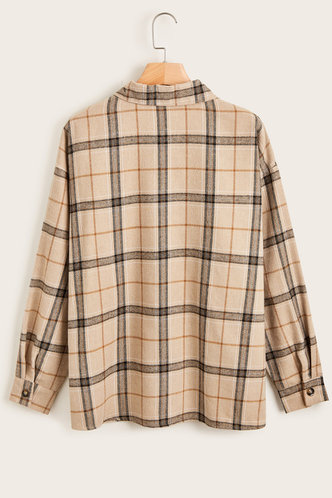 back_Hannah Khaki Plaid Blouses
