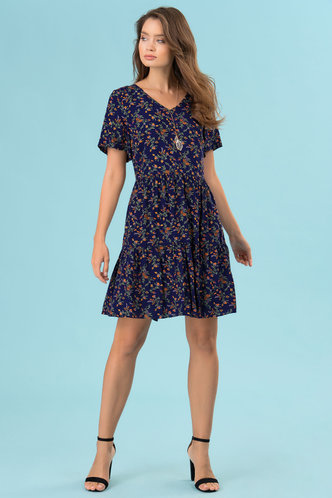 front_Prints Charming Dark Navy Floral Print Mini Dress