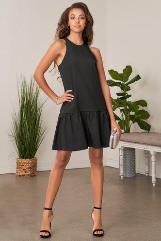 back_Waves of Hope Black Mini Dress
