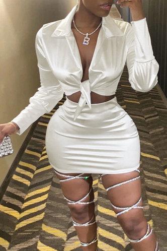 front_Solid Cross Straps Regular Sleeve Long Sleeve Elastic Waist White Skirt Sets