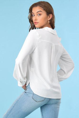 back_Collar Neck Long Sleeve White Blouses