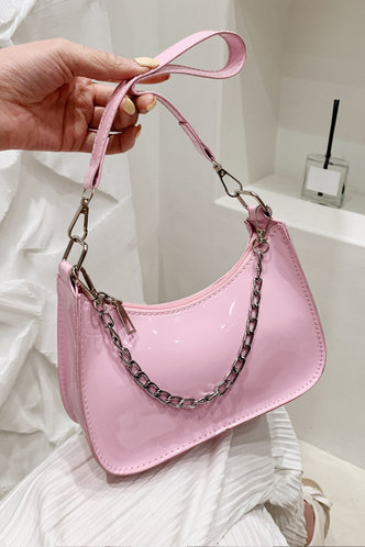 front_Chain Zipper Up Baby Pink Shoulder Bags