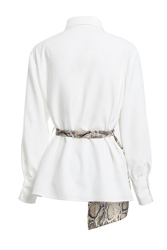 back_Don't Look Back White And Snake Print Colorblock Shirt