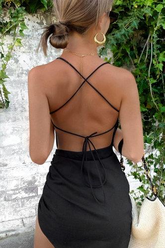 front_Beverley Elsie Black Lace Up Backless Dress
