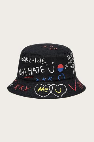 front_Jamie Eden Black Letter Print Bucket Hat