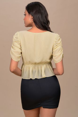 back_Charming Cream Champagne Short Sleeve Top