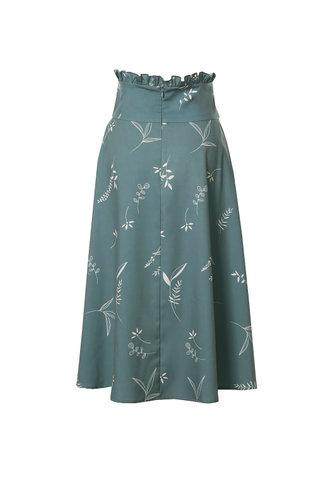 back_Botanical Dreams Light Teal Plant Print Midi Skirt