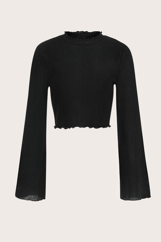 front_Colette Black Rib Knit Crop Top