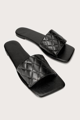 front_Sal Ella Black Quilted Slide Sandals