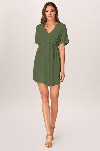 front_Solitude Army Green Mini Dress