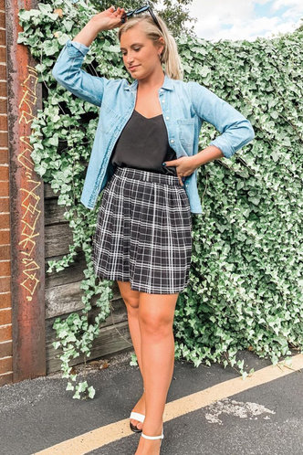 front_Check Please Black Plaid Skirt