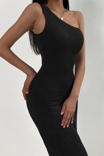 back_Eartha Elaine Black One Shoulder Dress