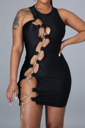 front_Fidelia Eudora Black Lace Up Bodycon Dress