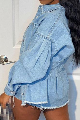 back_Lindsay Eve Wash Light Blue Button Up Denim Jacket