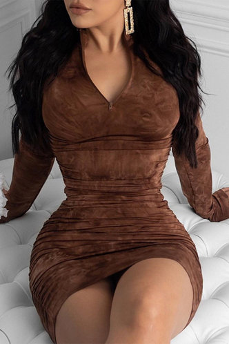 front_Shopping Vacation Bar/Nightclub Party Long Sleeve Brown Solid Color Dresses