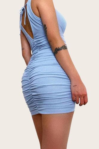 back_Gabrielle Garan Baby Blue Ruched Bodycon Dress