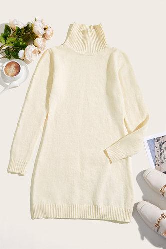 back_Daily Above Knee High Neck Regular Sleeve White Plain Dresses