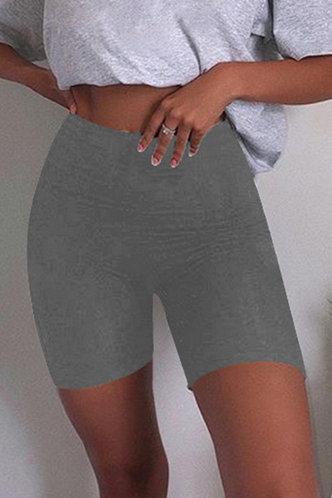 front_Debbie Eartha Light Grey Biker Shorts