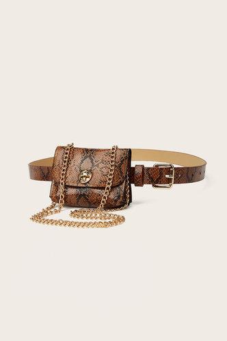 front_Heloise Land Brown Snakeskin Print Bum Bag