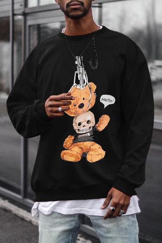back_Street Cartoon Black Men Sweatshirts & Hoodies