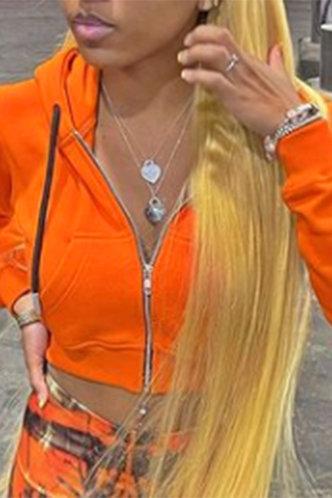 front_Casual Hoodie Plain Pocket Orange Outerwear