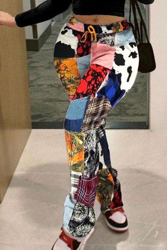 front_Mid Waist Plant Print Wide Leg Multicolor Pants