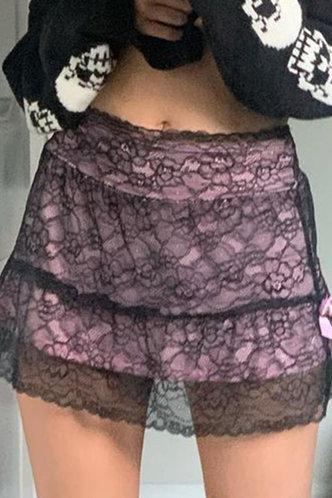 back_Inez Elaine Black And Purple Skirt