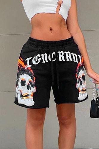 front_Kimberley Eden Black Multi Print Shorts
