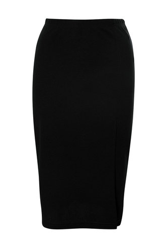 front_Split Second Black Skirt