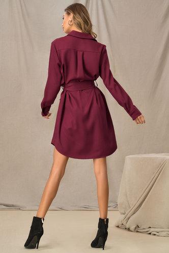 back_Desk to Drinks Burgundy Shirt Dress