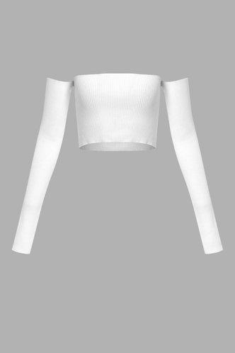 back_Off the Shoulder Dropped Shoulder White Sweater