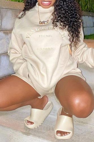 back_Street Regular Beige Plus Size Sweatshirts & Hoodies
