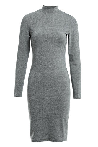 front_Hold Me Tight Grey Knit Dress