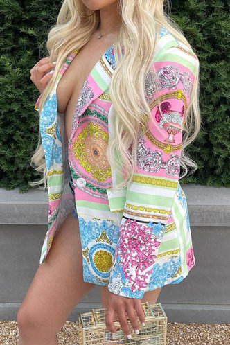 back_V-Neck    Button No special process Baroque Print Outerwear