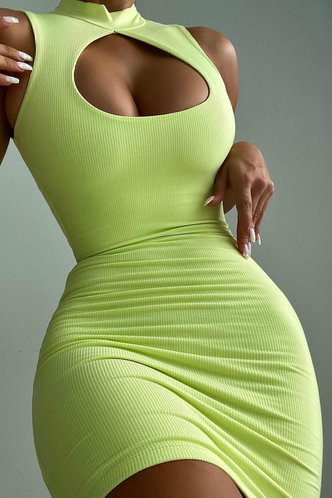 front_Peggy Eve Green Cutout Front Bodycon Dress