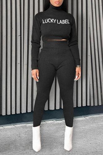 front_Letter   Black Pants Sets