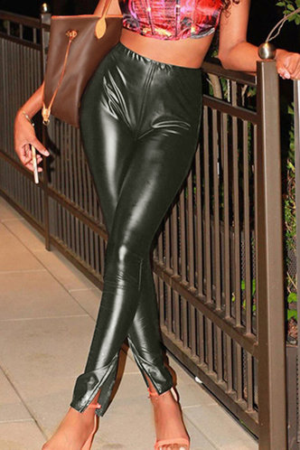 back_Talbot Dark Green Leather Pants