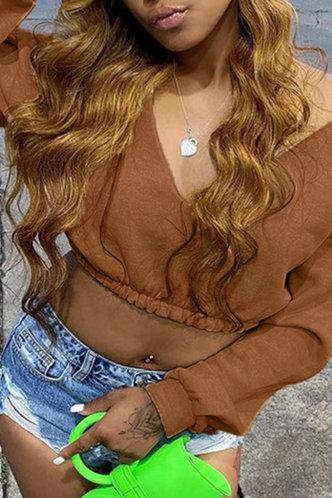 back_Sexy Low Cut Solid Shirred Brown Sweatshirts & Hoodies