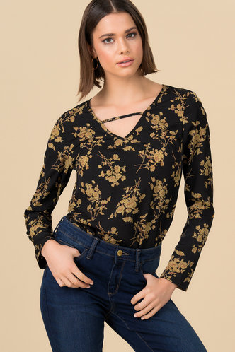 front_Fall Floral Black Floral Print Top
