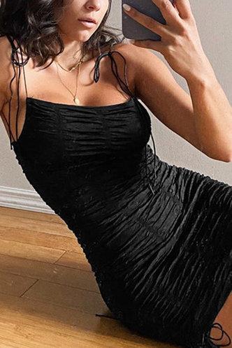 front_Colette Elaine Black Tie Shoulder Ruched Dress