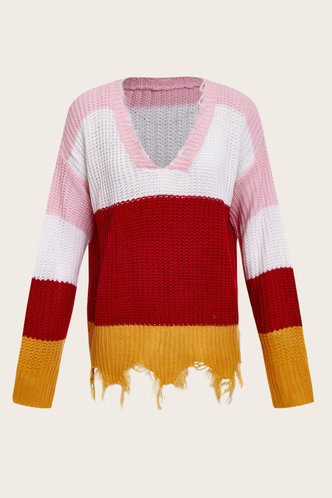 back_V-Neck Colorblock Long Sleeve Sweaters