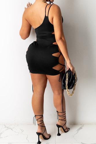 back_Vacation Bar/Nightclub Square Neck Black Dresses