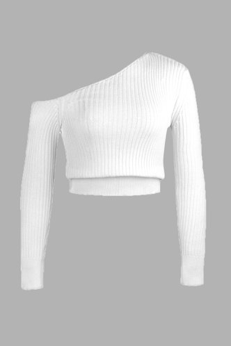 back_Emily White One Shoulder Crop Sweater
