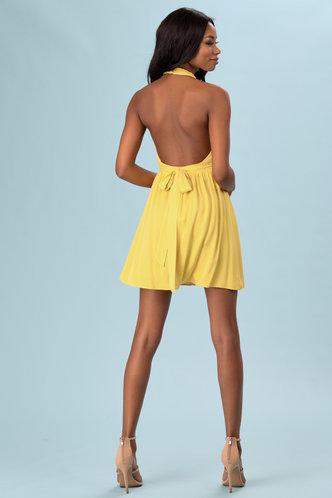 back_Chatoyant Yellow Mini Dress