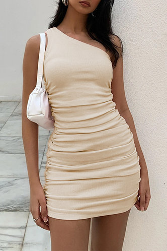 front_Regan Edith Beige One Shoulder Ruched Dress